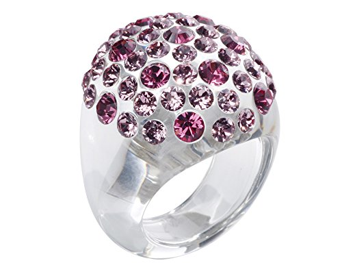 Lucite Dome (Handcrafted Lucite Statement Dome Ring with Pink Crystals Size 8)