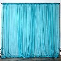 BalsaCircle 10 feet x 10 feet Sheer Voile Backdrop Drapes Curtains Panels - Turquoise