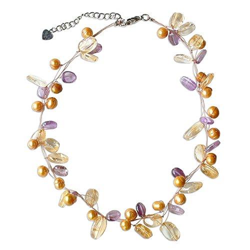 NOVICA Multi-Gem Dyed Golden Cultured Freshwater Pearl Strand Necklace, 17