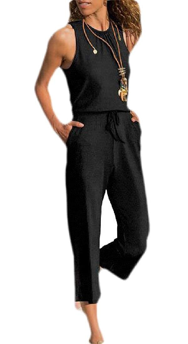 HTOOHTOOH Women Sleeveless Casual Rompers Elastic Waist Drawstring Solid Jumpsuit Pants