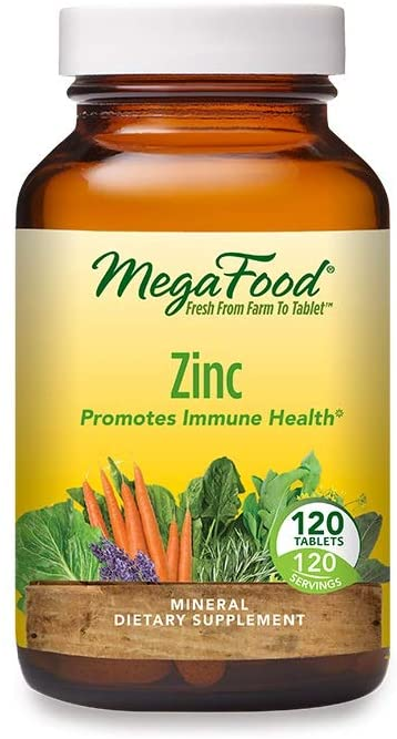 MegaFood, Zinc, Immune Health Support, Tissue Repair and Recovery, Mineral Supplement, Vegan, 120 Tablets
