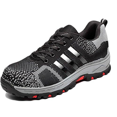 cabecera-sensacional de acero zapatos de seguridad anti-perforación de verano transpirable black flying weave