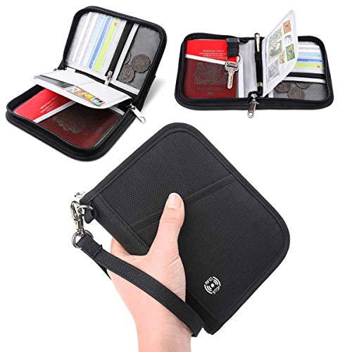 Family Passport Holder - Vemingo RFID-Blocking Travel Wallet Ticket Holder Document Organizer with Zipper for Women & Men (Black, Small)