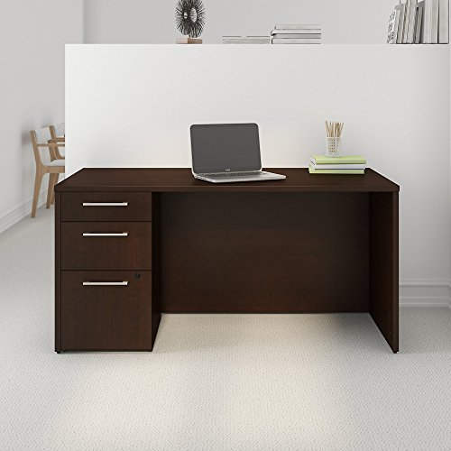 Bush Business Furniture Desk with Pedestal 300S094MR, Mocha Cherry by Bush Business Furniture