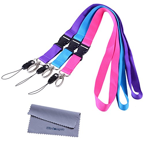 - Office Lanyard, Wisdompro 3pcs 23 inch Polyester Neck Strap with Oval Clasp and Detachable Buckle for Phone, Camera, iPod, USB, Key, Keychain, ID Name Tag Badge Holder - Purple, Hot Pink, Light Blue