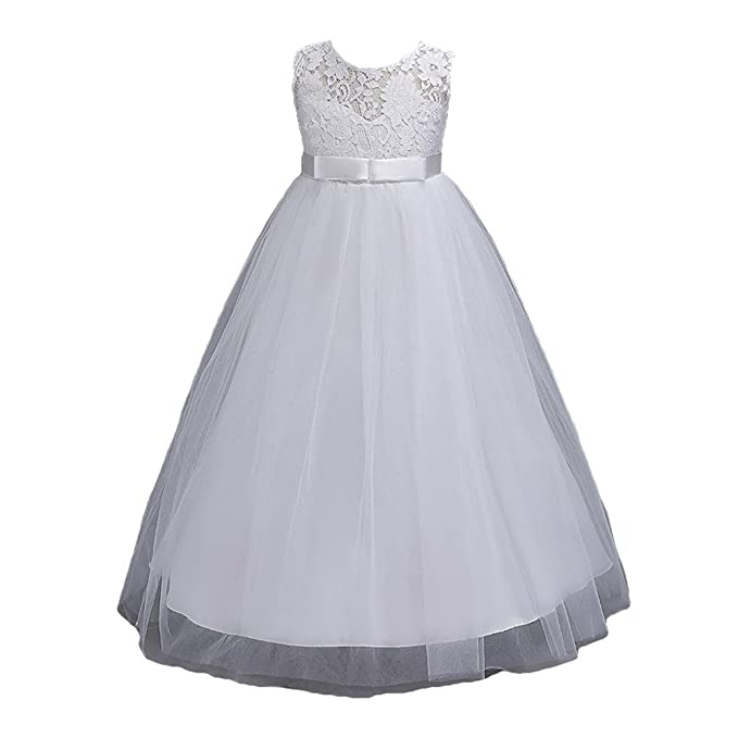 Highdas Vestidos largos de adolescente Tutu Birthday Dresseses blanco 120CM