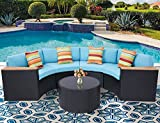 Incbruce Outdoor Sectional Sofa 5-Piece Half-Moon Patio Furniture Set | All-Weather Garden Sofa W/Round Tempered Glass Top Table, Sky Blue Cushions and Colorful Pillows