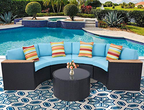 Incbruce Outdoor Sectional Sofa 5-Piece Half-Moon Patio Furniture Set | All-Weather Garden Sofa W/Round Tempered Glass Top Table, Sky Blue Cushions and Colorful Pillows (Round Glass Sofa)