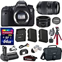 Canon EOS 6D 20.2 MP Full-Frame CMOS Digital SLR Camera Bundle with Canon EF 50mm f/1.8 STM Lens and Accessories (10 Items) Basic Intro Review Image
