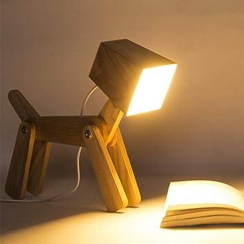 Amazon.com: LERSS - Lámpara de mesa de madera para perro ...