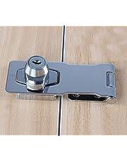 Keyed Hasp Locks Twist Knob Keyed Locking Hasp,Chrome Plated Hasp Lock with Keys,Door Lock Clasp w/Screws for Door Cabinet