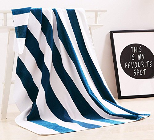 "Exclusivo Mezcla 100% Cotton Oversized Large Beach Towel,Pool Towel (Cabana Stripe, 35""x70)—Soft, Quick Dry, Lightweight, Absorbent, and Plush"