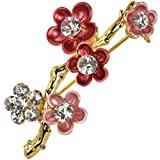 Dahlia Sakura Cherry Blossom Branch Diamante Gold-Tone Brooch Pin