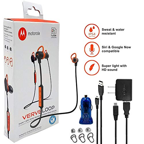 Motorola VerveLoop HD Wireless - Sweat & Water Resistant Stereo Earbuds' Siri & Google' Compatible -W Extra Ear Gel + Car/Wall Charger (Retail Packing Kit)