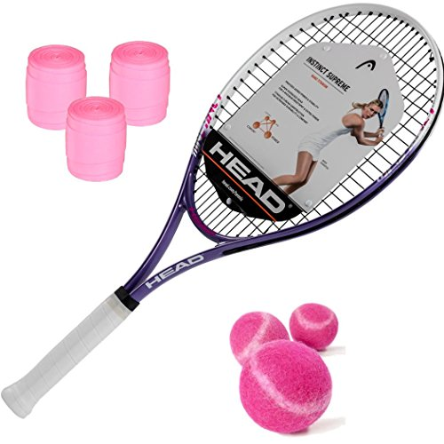 HEAD Ti.Instinct Supreme Women's/Junior Girl's (4 1/8″ Inch Grip) Tennis Racquet Kit with Pink Tennis Balls and Pink Overgrip (Perfect Starter Set for Girls and Women)