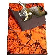 Camo Kids Realtree AP Blaze Orange Slumber Sleeping Bag & Animal Pillow (Whitetail Deer Pillow)