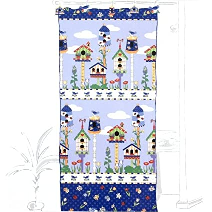 Amazon BigKitchen Blue Birdhouse Fabric Shower Curtain 70 X 72