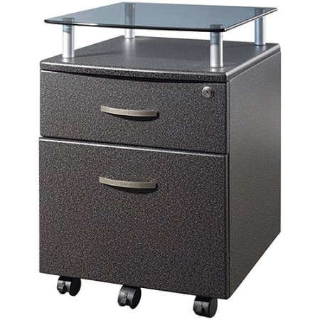 File Cabinet with Glass Shelf, Graphite, Locking Casters, Includes a Letter-Sized Hanging File Drawer, Sleek, Professional Appearance by GAShop