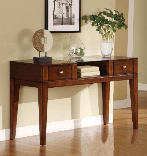Furniture of America Bellevue 2-Drawer Console/Sofa Table, Tobacco Oak - 2 Drawer Office Console Table
