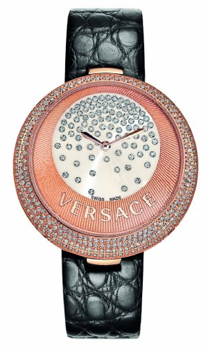 Versace Women's 87Q81D98F S009 Perpetuelle Rose Gold IP White Dial Black Alligator Leather Diamond Watch