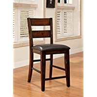 Furniture of America Dallas Transitional Pub Chair, Dark Cherry, Set of 2