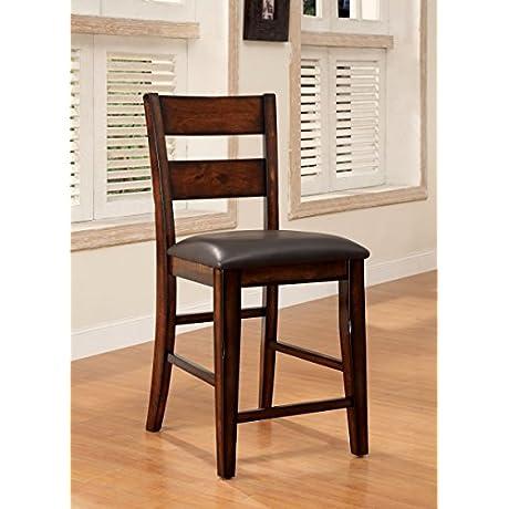 Furniture Of America Dallas Transitional Pub Chair Dark Cherry Set Of 2
