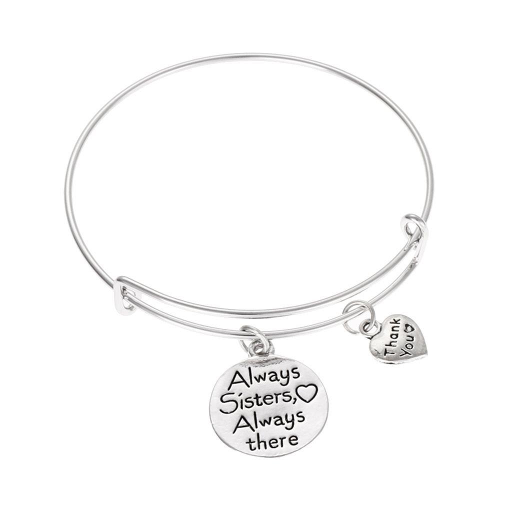 AUWU Cute Friendship Sister Adjustable Women Letter Bracelet Girl Round Shape Pendant Bangles Lady Gift Jewelry