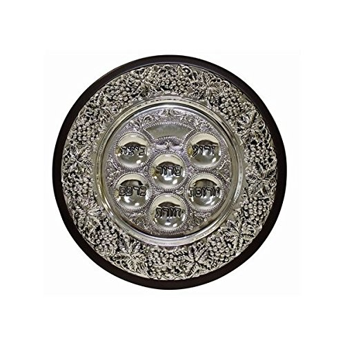 Wood and Silver Plated Seder Plate on 3 Legs by Majestic Athletic