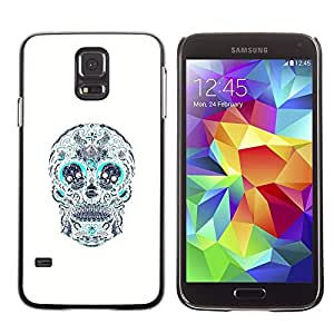 LECELL--Funda protectora / Cubierta / Piel For Samsung Galaxy S5 SM-G900 -- Skull Teal White Pattern Floral Death --