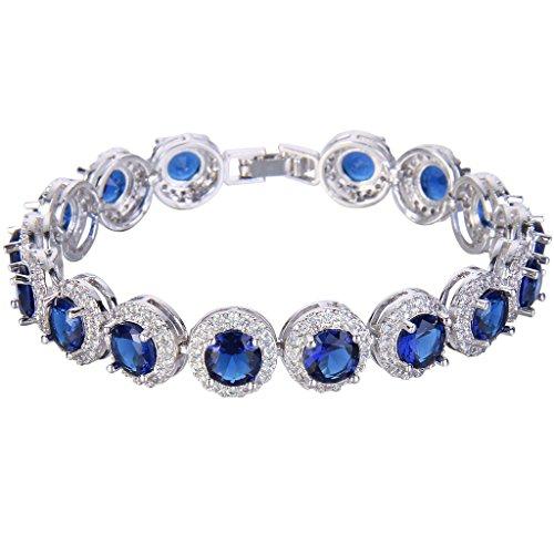EVER FAITH Silver-Tone Round Cubic Zirconia September Birthstone Roman Tennis Bracelet Sapphire -