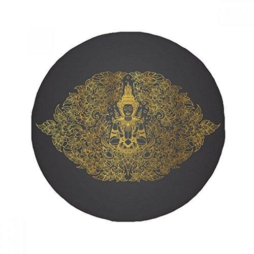 DIYthinker Thai Symmetrical Gold Foil Illustration Anti-slip Floor Pet Mat Round Bathroom Living Room Kitchen Door 80cm Gift by DIYthinker