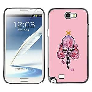 CASER CASES / Samsung Note 2 N7100 / Pink Skull With Roses / Delgado Negro Plástico caso cubierta Shell Armor Funda Case Cover