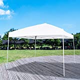 Homevibes 118'' x 118'' Pop up Canopy Portable UV Coated Outdoor Garden Commercial Instant Tent Shade Folding Straight Leg Easy Set up with Carry Bag, White