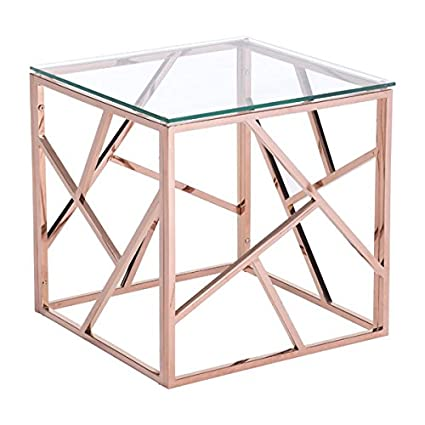 gold end table. Zuo Cage Side Table, Rose Gold End Table