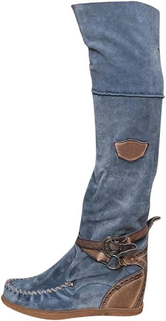 Logobeing Botas Altas para Mujer Botas de Cuña con Punta Redonda Retras sobre la Rodilla Botas Largas Botines Zapatos Casuales