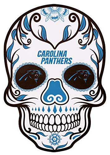 Applied Icon NFL Carolina Panthers Outdoor Small Dia De Los Muertos Skull Decal