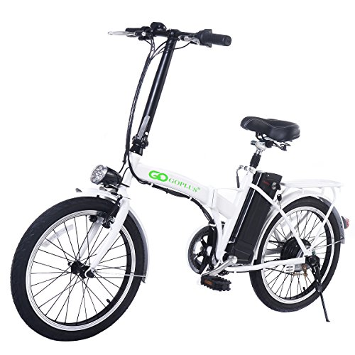 White Bicycle Electric Folding Bike 250W 20 Inch Lithium Battery