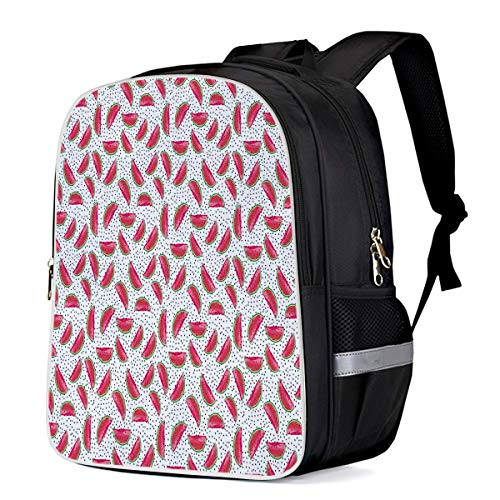 Lightweight Backpack for Students- The Fusion of Watermelon and Dragon Fruit -Unisex Casual Daypack Elementary School Bags Printing Travel Laptop Bag