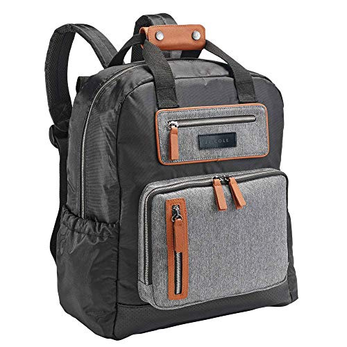 JJ Cole - Papago Pack Diaper Bag, Gender Neutral Large Capacity Backpack with Stroller Clips, Changing Pad, and Multiple Pockets for Baby Supplies, Herringbone Tweed