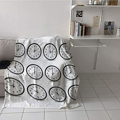Children's Blanket Lightweight Lightweight All-Season Blanket (60 by 70 Inch,Clock,Clocks with Numbers That Show Every Hour Illustration Hour and Minute Hand Theme,Black White