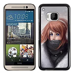 LECELL -- Funda protectora / Cubierta / Piel For HTC One M9 -- Cute Girl In Snow --