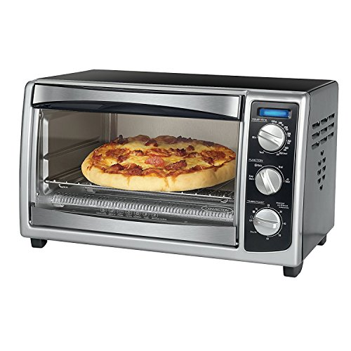 EVELOVE Convection Countertop Oven - Bake, Broil, Toast, Keep Warm, Reheat - Chrome, Black
