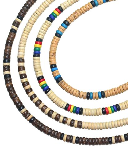 Native Treasure 16 inch Kid's Set of 4 Coco Shell Wood Bead Surfer Necklaces - 5mm (3/16