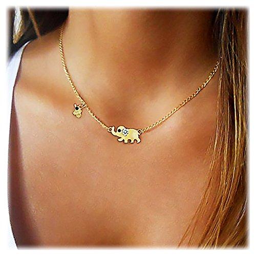 Gleamart Alloy Crystal Lucky Elephants Pendant Choker Necklace for Women Girl ()