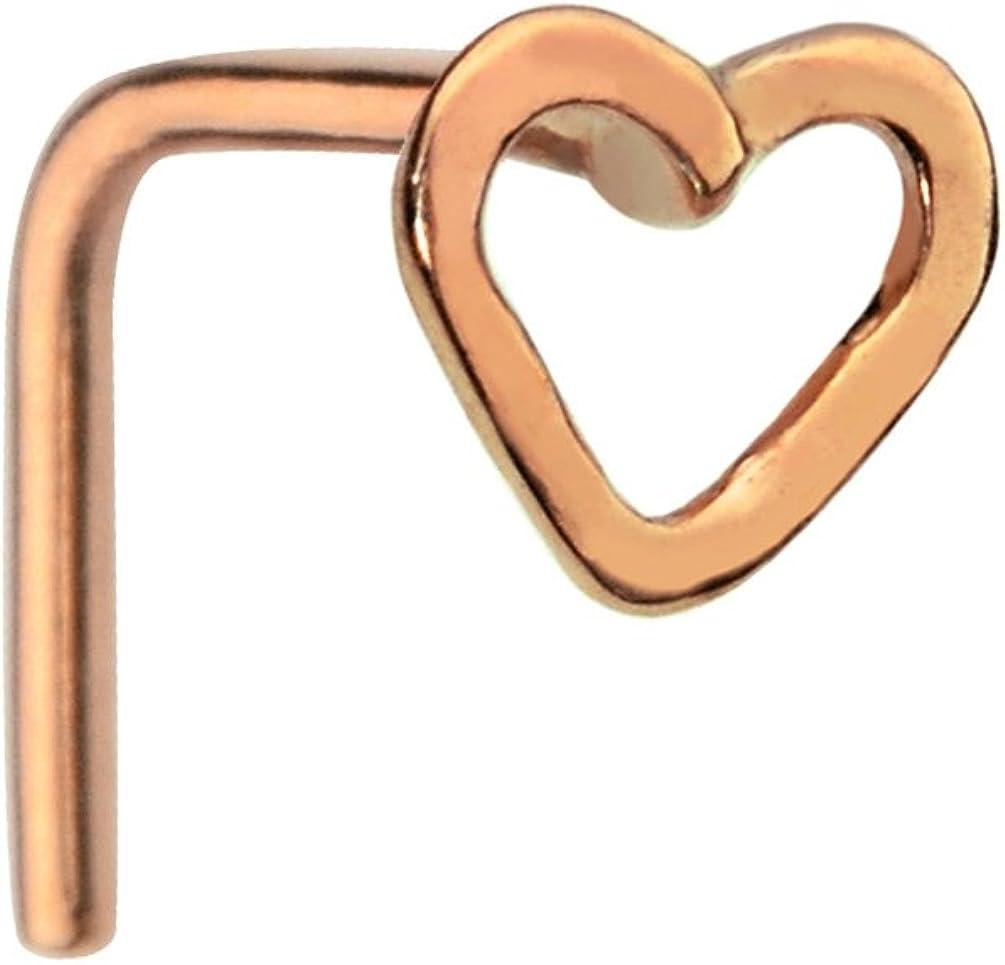 Rose Gold PVD 316L Surgical Steel L Bend Nose Stud Ring Heart Nose Hugger 20G