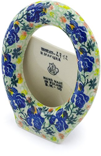 Polish Pottery 3¾-inch Picture Frame made by Ceramika Artystyczna (Blue Iris Delight Theme) Signature UNIKAT + Certificate of Authenticity