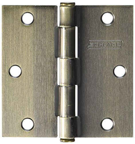 Solid Brass Hinge Square Corners - SCHLAGE LOCK CO SC3P1010F-609E AB SQ Corn Hinge, 3.5-Inch, 3-Pack
