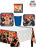 Sturdy Style WWE Birthday Party Supplies Pack Kit Bundle for 8 Guests - Lunch Plates, Dessert Plates, Lunch Napkins, Cups, and a Table Cover