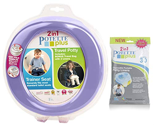 Kalencom 2 in 1 Potette Plus Portable Potty-Toilet Training Seat with 30 Potty Liners Set ()