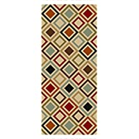 Custom Size Multicolor Squares Non-Slip Rubber Backed Hallway Carpet Runner Rug | 31-inch x 22-feet